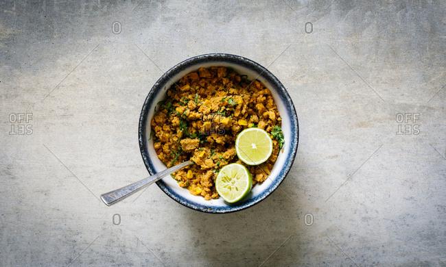 Vegan taco seasoned cauliflower mince