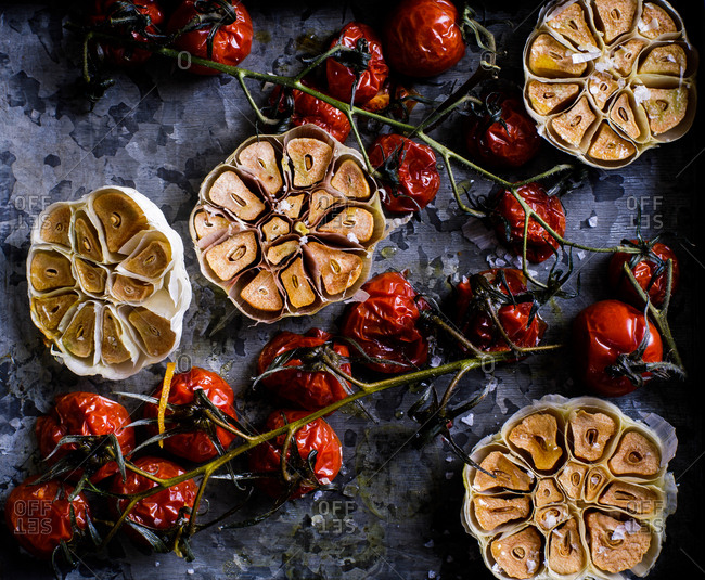Roasted tomatoes and garlic