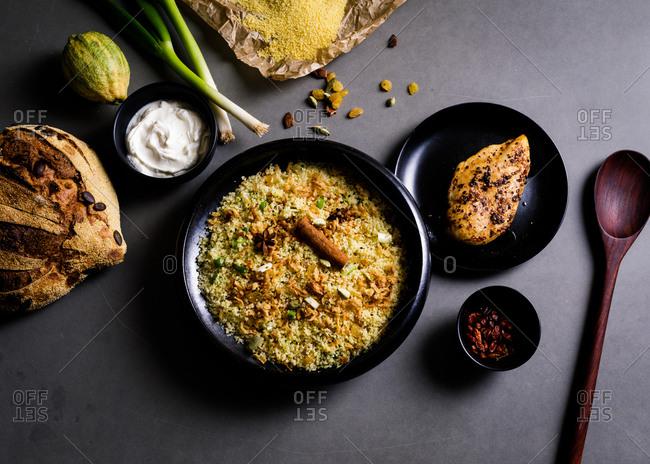 Hyderabadi biryani typical Indian dish