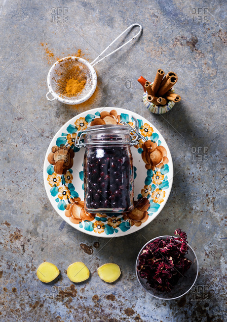 Blueberries in a glass jar