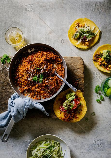 Taco ingredient in a frying pan
