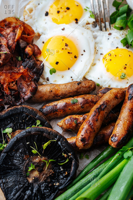 Close up full frame shot of eggs, sausage and veggies