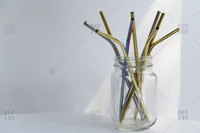 Reusable straws in glass jar
