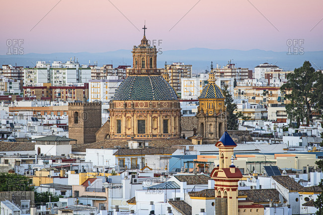Cityscape with Church of Saint Louis of France in Seville, Andalusia, Spain