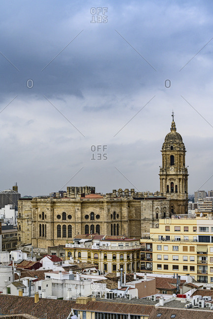 Cityscape with Cathedral of Malaga in Malaga, Spain