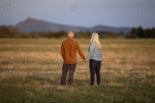 Couple holding hands in field at sunset in Picabo, Idaho, USA