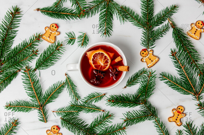 mulled wine and gingerbread cookie with Christmas decoration