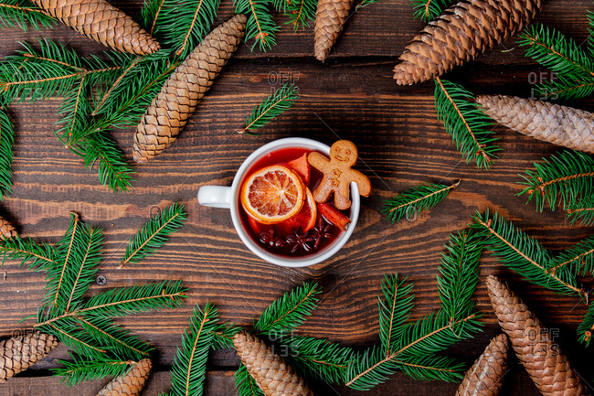 mulled wine with cookie and Christmas decoration