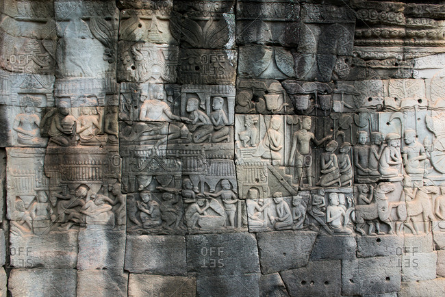 Close up of artwork at Buddhist temple Angkor Wat in Cambodia