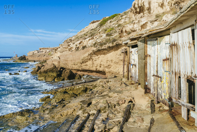 Typical fisherman's huts in Ibiza, Balearic Islands, Spain
