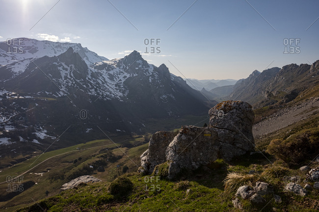 Mountains surrounding Valle de Lago, Asturias, Spain