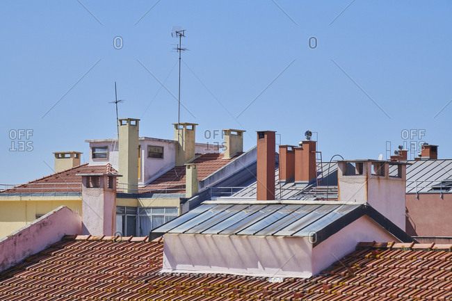 Lisbon rooftops and chimneys, Portugal