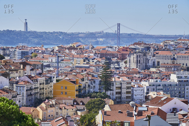 Lisbon, Portugal - October 10, 2019: Aerial view of Lisbon viewed from Graca