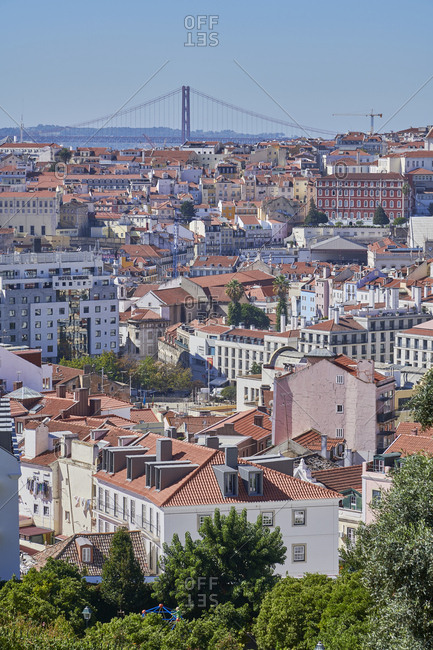Lisbon, Portugal - October 10, 2019: Bird's eye view of Lisbon viewed from Graca