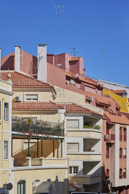 Lisbon, Portugal - October 10, 2019: Colorful facades of apartments in the Anjos neighborhood