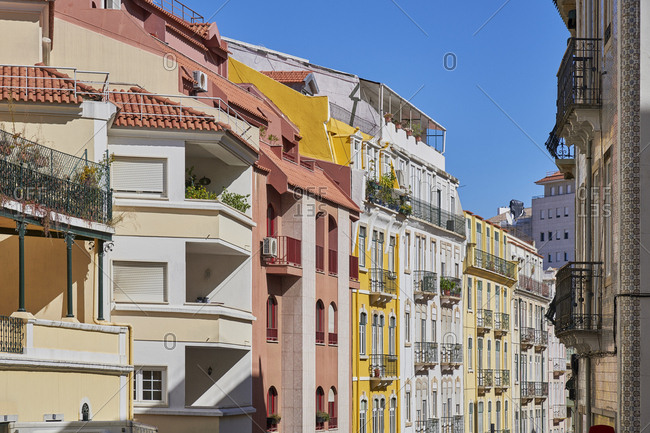 Lisbon, Portugal - October 10, 2019: Multicolored facades of apartments in the Anjos neighborhood