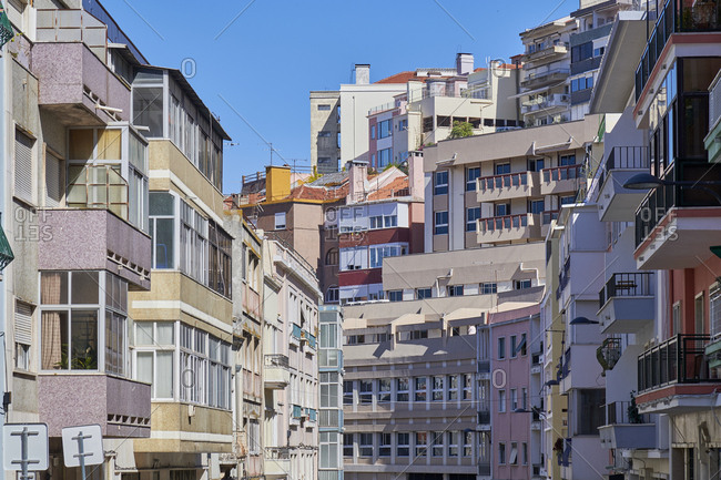 Facades of apartments in the Anjos neighborhood, Lisbon, Portugal