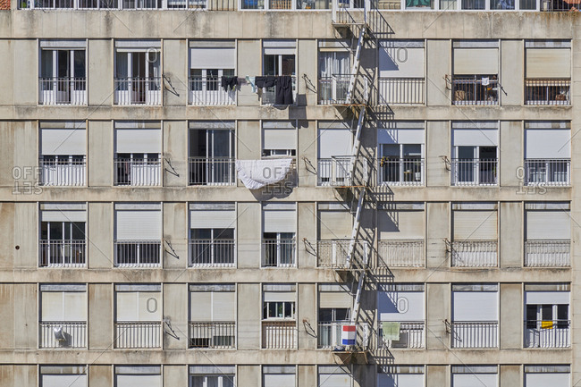 Apartment building with fire escape in the city of Lisbon, Portugal