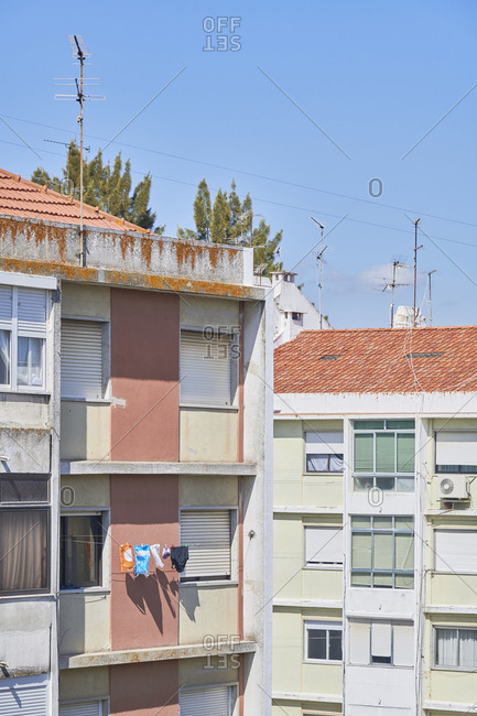 Lisbon, Portugal - September 30, 2019: Facades of apartment buildings in the city