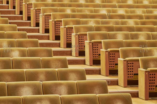 Yellow auditorium chairs, Lisbon, Portugal