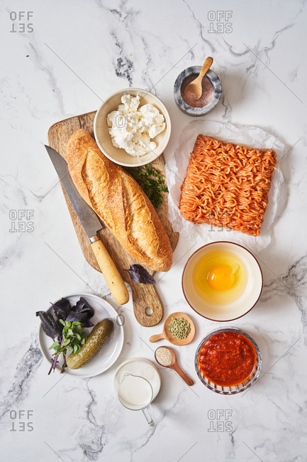 Ingredients for making a sub