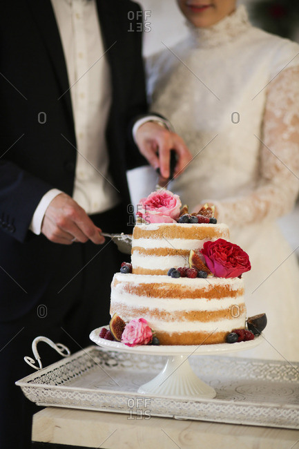 Couple cutting into their wedding cake