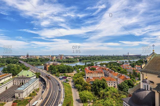 Poland- Masovian Voivodeship- Warsaw- Clouds over Solidarity Avenue street and Vistula river