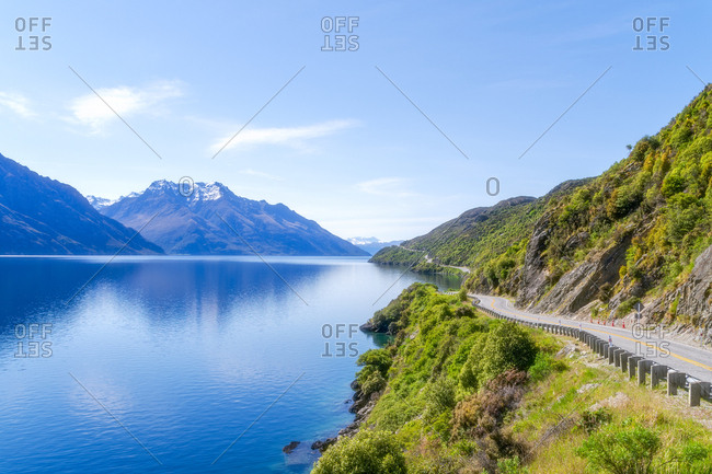 Scenic view of Lake Wakatipu against sky at Queenstown- South Island- New Zealand