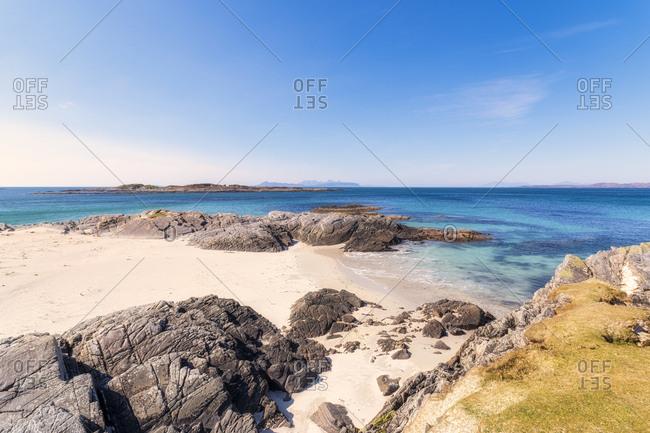 Scenic view of Smirisary Beach against sky- West Coast- Lochaber- Scotland- UK