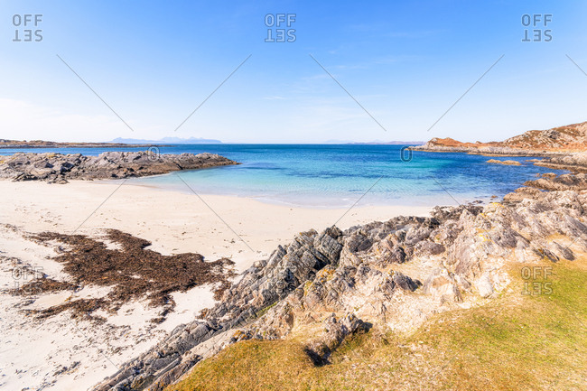 Scenic view of Smirisary Beach against sky- Lochaber- Scotland- UK