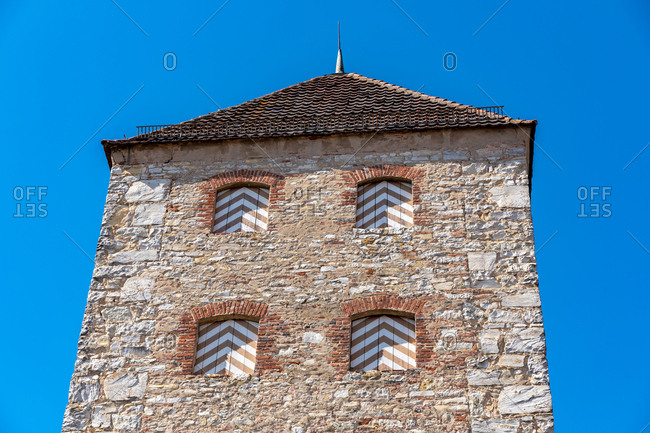 Low angle view of medieval tower against clear blue sky at Bavaria- Germany