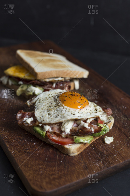 Close-up of brunch on cutting board