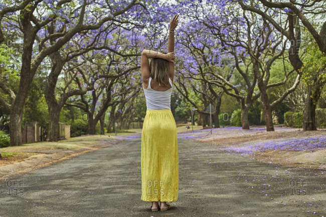 Woman in the middle of a street full of jacaranda trees in bloom- Pretoria- South Africa