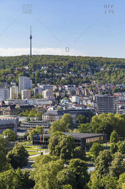 Distant view of Fernsehturm Stuttgart against sky in city- Germany
