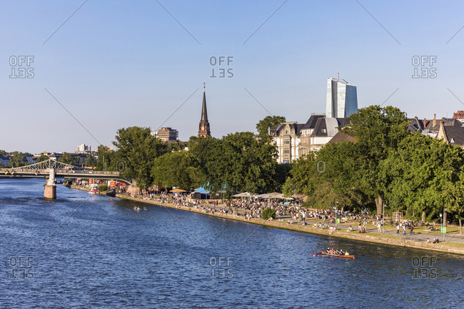 July 3, 2019: Scenic view of river against clear sky in Frankfurt- Germany