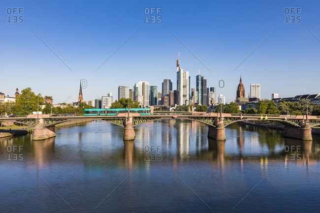 July 4, 2019: Ignatz Bubis Bridge over River Main against clear blue sky at Frankfurt- Germany
