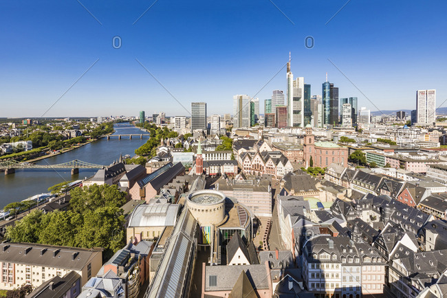 July 4, 2019: Schirn Kunsthalle and buildings against clear sky in Frankfurt- Germany