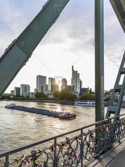 July 4, 2019: Eiserner Steg over river against sky in Frankfurt- Germany