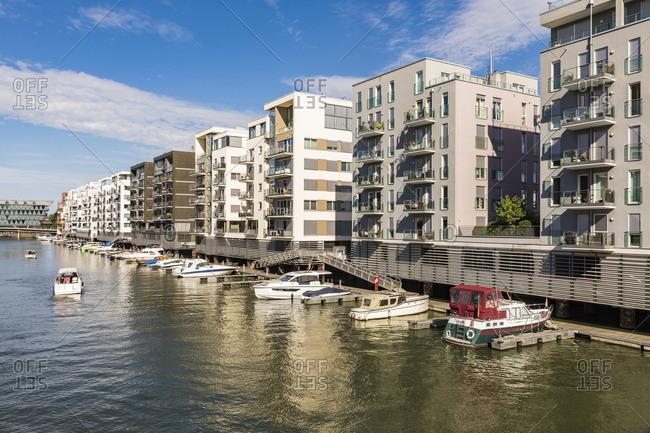 Residential buildings by River Main- Frankfurt- Hesse- Germany