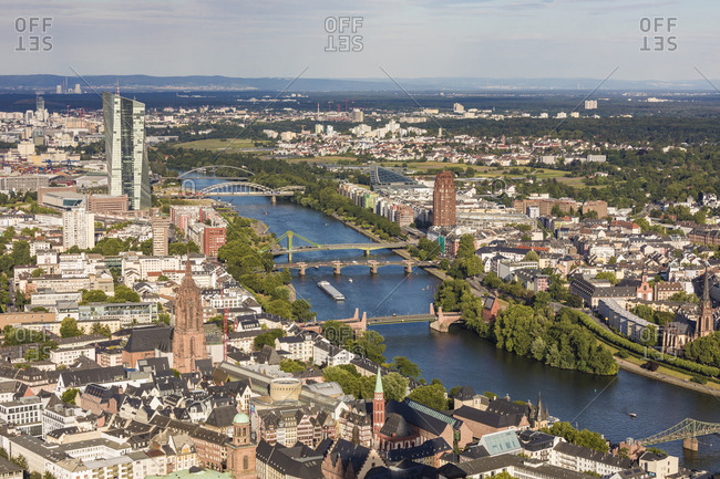 High angle view of River Main amidst city- Frankfurt- Hesse- Germany