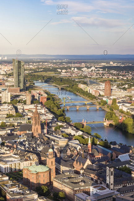 High angle view of cityscape against sky- Frankfurt- Hesse- Germany