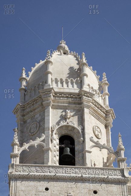 Low angle view of Mosteiro Dos Jeronimos against clear sky- Lisbon- Portugal