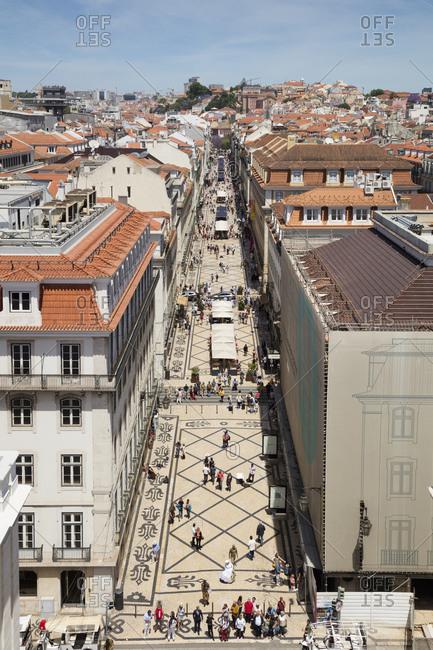 May 24, 2019: Pedestrians on street seen from Arc de Triomphe- Lisbon- Portugal