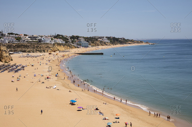 May 28, 2019: Scenic view of sandy beach at Albufeira- Algarve- Portugal