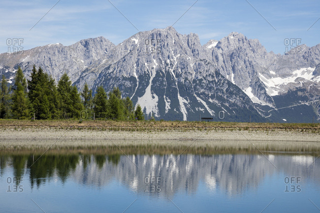 Hartkaiser lake against Kaiser Mountains- Tyrol- Austria