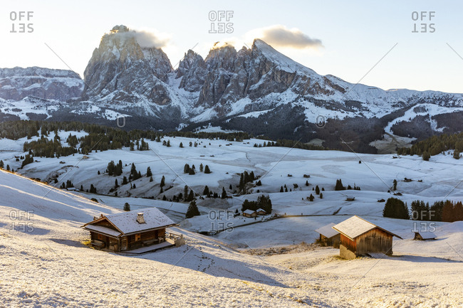 Idyllic shot of snow covered Seiser Alm during sunrise- Italy
