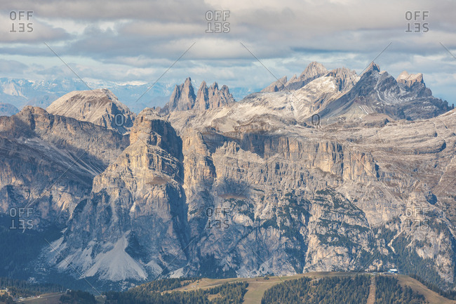 Scenic view of Piz Boe and Sassolungo mountains seen from Lagazuoi- Italy