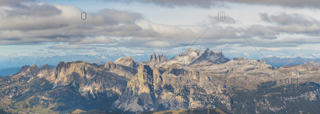 Panoramic shot of Piz Boe and Sassolungo mountains seen from Lagazuoi- Italy