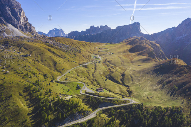 Aerial view of Giau pass and mountains- Belluno- Italy
