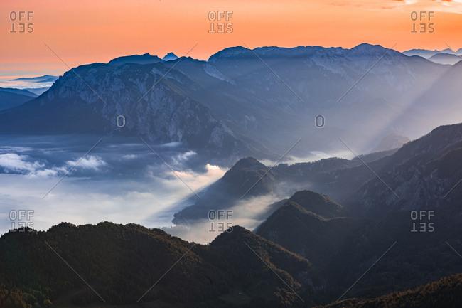 Austria- Schafberg- Hollengebirge- Lake Attersee at sunrise
